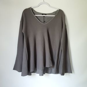 Very J Bell Sleeve Loose Fitting V-neck Sweater